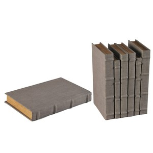 Set of 6 Heather Gray Linen Books | Sarreid