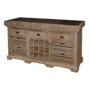 Old Pine Kitchen Island with Wine Rack