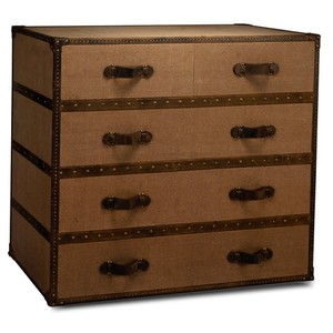Tan Canvas Trunk Style Chest Of Drawers | Sarreid