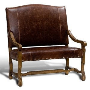Italian Leather Settee | Sarreid