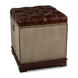 Elegant Petite Stool Canvas & Leather