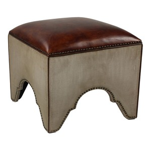 Elegant Arches Stool Canvas & Leather