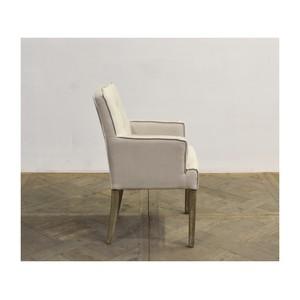 Square Back Linen Arm Chair w/ Oak Leg | GJ Styles