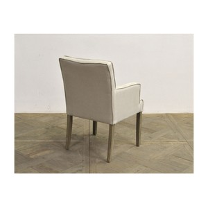 Square Back Linen Arm Chair with Oak Leg | GJ Styles