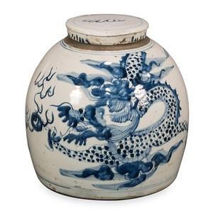 Blue & White Round Vase