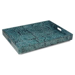 Blue Botanical Leather Tray