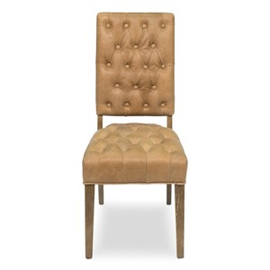 Leather Side Chair in Tan