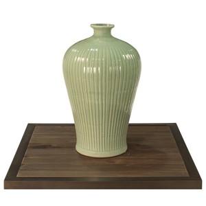 Celadon Carved Bamboo Prunus Vase