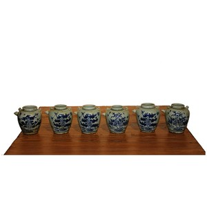 Collection of 6 Blue and White Wine Jars