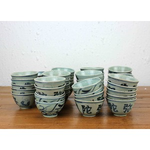 Collection of 77 Blue and White Cups