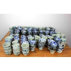 Collection of 250 Blue and White Cups