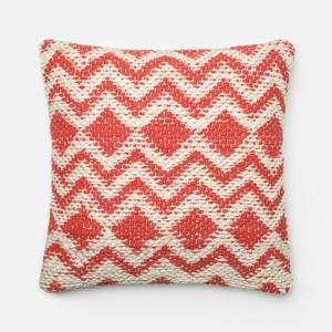 Coral and Grey Pillow