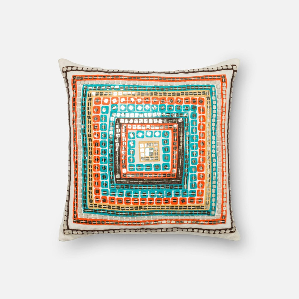 Blue and Rust Pillow | Loloi