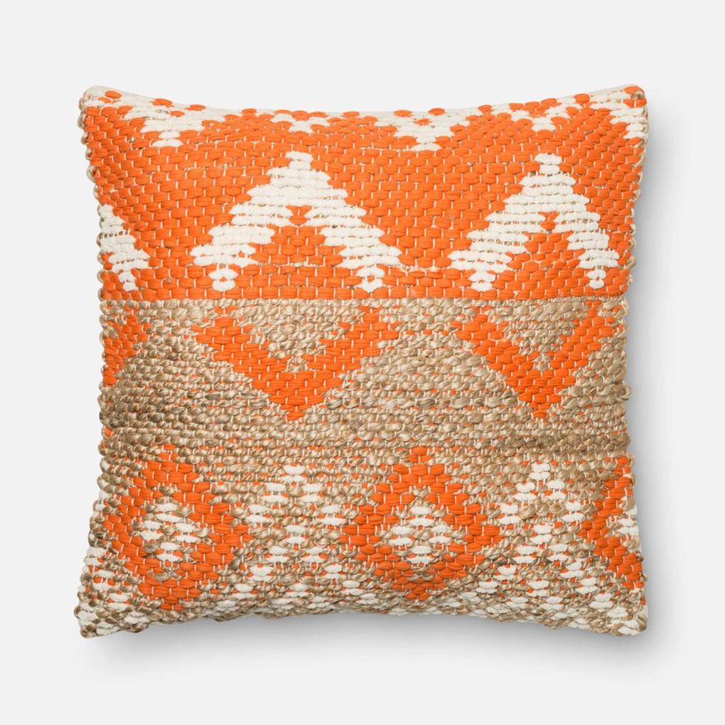 Orange and Beige Pillow | Loloi