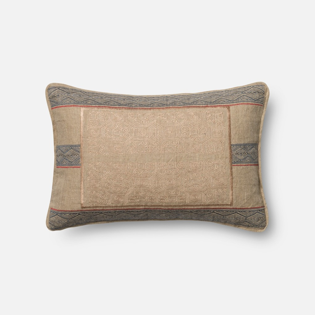 Beige and Blue Pillow | Loloi