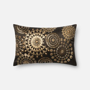 Brown and Gold Pillow | Loloi