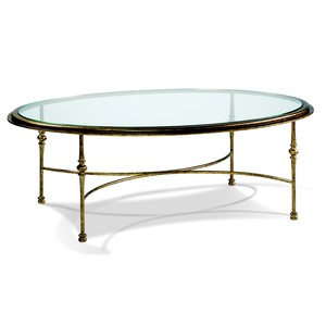 Aged Gold Oval Cocktail Table | CTH-Sherrill Occasional