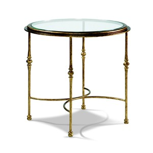 Aged Gold Round End Table | CTH-Sherrill Occasional