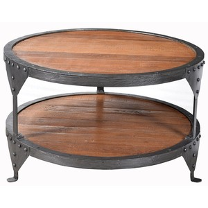 Figaro Iron Round Table with Wood Top