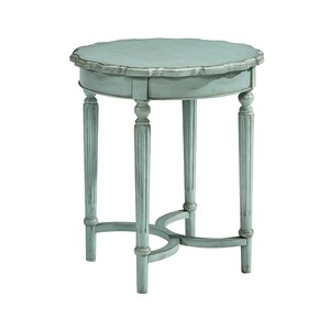 Tall Round Side Table in French Blue