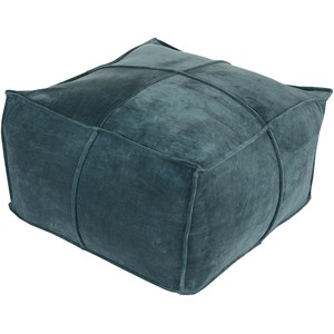 Teal Cotton Velvet Pouf