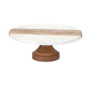 Poppy Marble and Wood Cake Stand