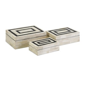 Bella Bone Inlay Boxes - Set of 3