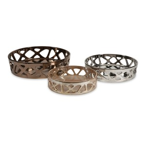 Geometric Cutwork Trays- Set of 3
