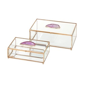 Maison Glass and Agate Boxes - Set of Two