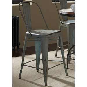 Bow-Back Counter Chair in Green | Liberty Furniture