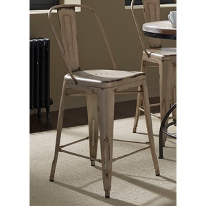 Bow-Back Counter Chair in Vintage White | Liberty Furniture