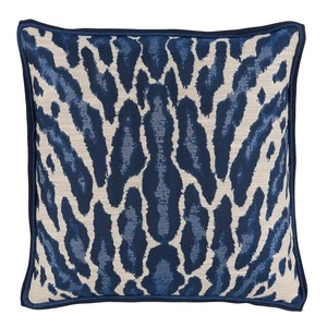 Kenya Indigo Pillow with Blue Double Flange | Lacefield Designs