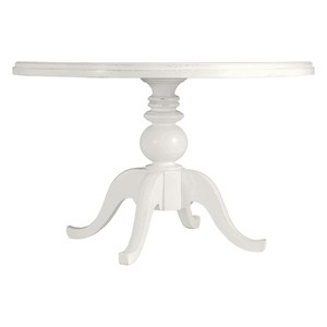 Round Pedestal Dining Table in Saltbox White | Stanley Furniture