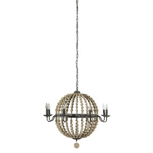 Cosmos Chandelier in Natural Wood Beads | Furnitureland Home