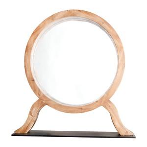 Round Wood Table Mirror on Stand | Furnitureland Home