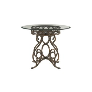 """Capistrano Metal Center Table with 36"""" Glass Top 