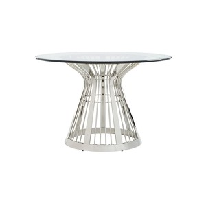 "Riviera Stainless Dining Table with 48"" Glass Top 