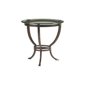 Andress Round End Table in Antique Copper Finish | Artistica