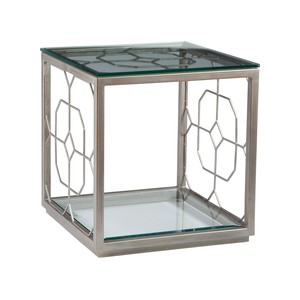 Honeycomb Square End Table in Argento Finish | Artistica