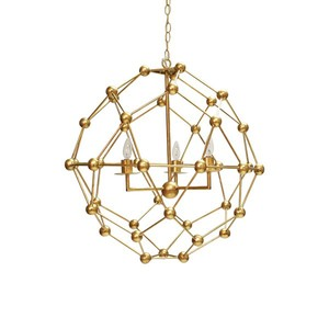 Large Molecule Chandelier in Gold Leaf