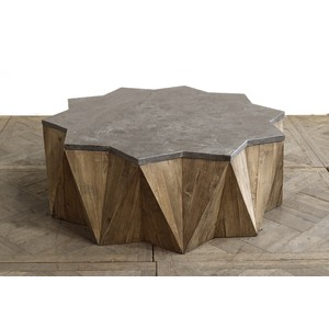 Pine Star Coffee Table with Blue Stone Top