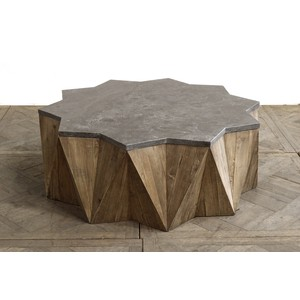 Pine Star Coffee Table w/ Blue Stone Top