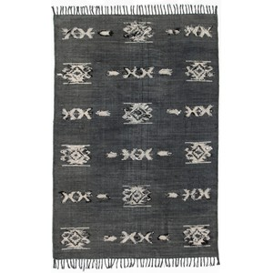 Cotton Tribal Rug Faded Black, 5x8 | Four Hands
