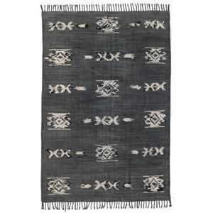 Cotton Tribal Rug Faded Black, 5x8