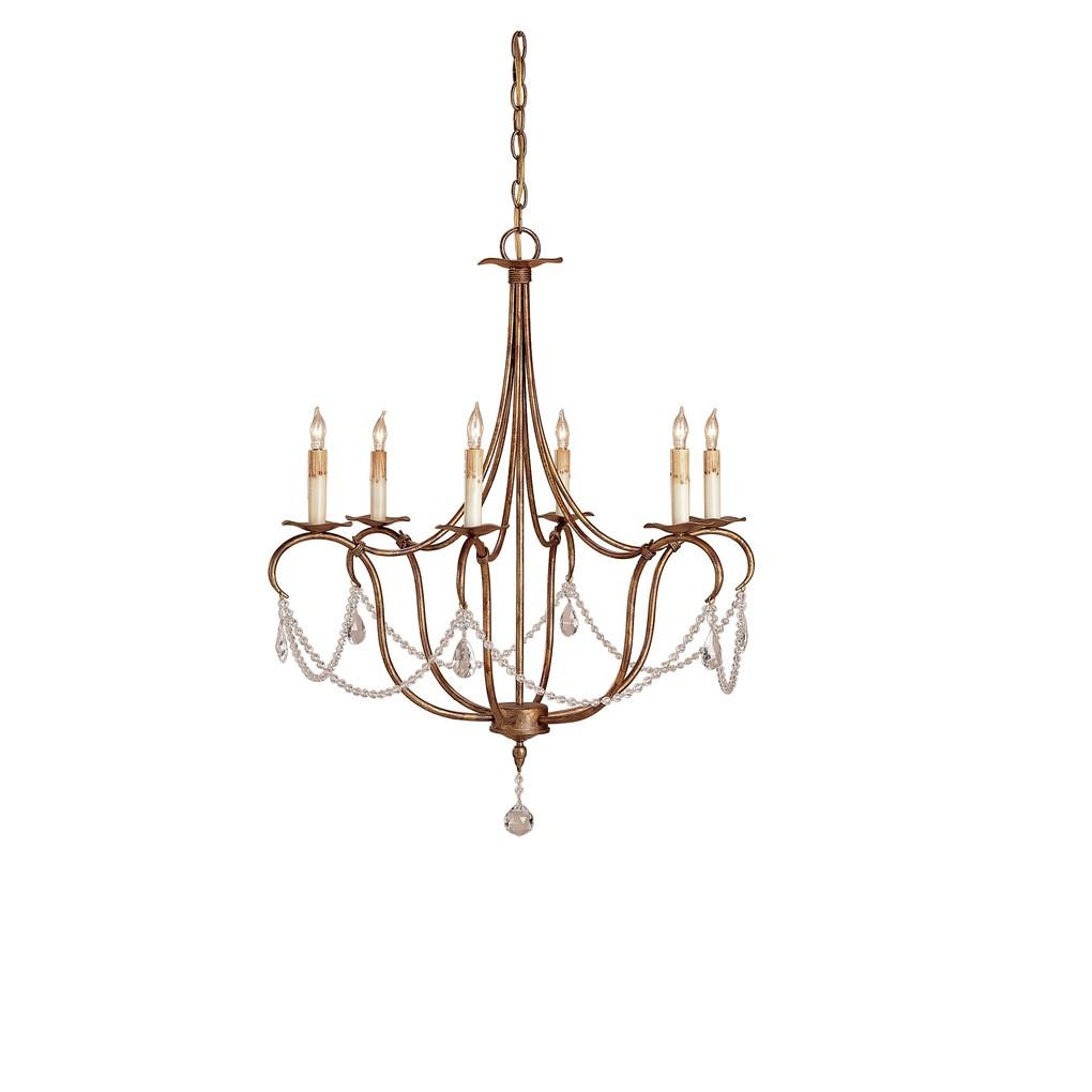 Crystal Light Chandelier, 6L | Currey & Company