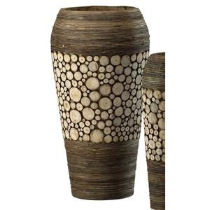 Wood Slice Oblong Vase